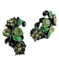 Vintage Black Japanned Enamel Crystal Rhinestone Flower Clip On Earrings Topaz Gold Jonquil Yellow Citrine