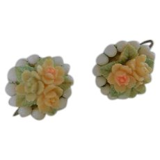 Carved Celluloid Roses Cluster Costume Earrings with Milk Glass Screwbacks Vintage