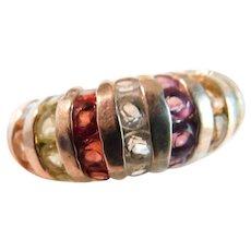 Sterling Silver 925 Multi Gemstone Ring Channel Set Garnet Citrine Topaz Amethyst Peridot Size 8.5-8.75