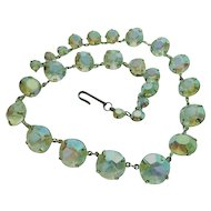 Art Deco Prism Crystal Rainbow Hues Graduated Necklace Choker 14Inch Beauty Vintage