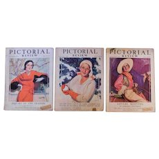 3 1931 Pictorial Review Art Deco Magazines with Ads Stories Fashion Home Society News