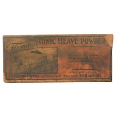 Antique Edwardian Flemings Tonic Heave Powder Tin For Horses Advertising Box Unopened Circa 1910 Veternarian Vet Medicine