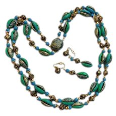 Delightful 1960s Hong Kong Blues Turquoise Teal Greens & Golds Roses Necklace Choker Clip On Earrings Set Demi Parure