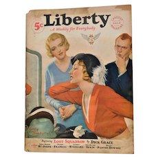 1931 Liberty Magazine Art Deco The Lost Squadron Dick Grace Advertising Boxer Jack Dempsey Estelle Taylor Divorce & Photographs Vintage