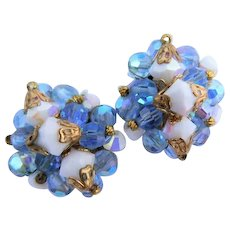 Beautiful Vintage Crystal Carnival Glass Blue & White with Iridescent Shimmer Cluster Wired Bead Earrings Clip Ons