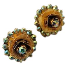 Vintage Layered Multi Dimensional ROSE Flower & Aurora Borealis AB Carnival Glass Crystal Clip On Earring