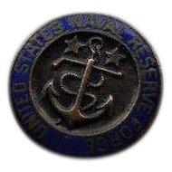 Antique WWI World War I United States Naval Reserve Force Enamel USNRF Lapel Button Stud World War 1 Discharge