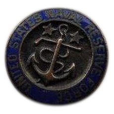 Antique WWI World War I United States Naval Reserve Force Enamel USNRF Lapel Button Stud World War 1 Discharge