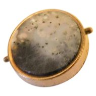 1870 Patented Victorian Gold Fill Plate Gilt .90inch Beautiful Moss Dentritic Agate Collar Button Stud Pin