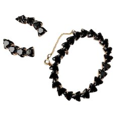 Vintage Black Crystal Triangular Glass Bracelet & Clip On Earring Set in Gold Tone Possibly Plated or Wash