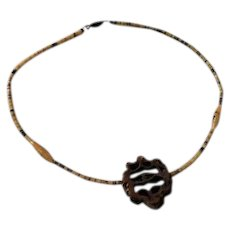Vintage Older Brown Shell Heishi Beaded Walnut Pendant Unique Necklace Choker