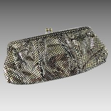 Wilson Leather Flashy Black & Silver Evening Bag Handbag with or without chain Clutch Purse