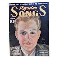October 1935 Popular Songs Magazine Book Nelson Eddy Mae West Vivienne Segal Stephen Foster Music Art Deco Vintage