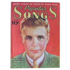 February 1936 Popular Songs Magazine Music Book Dick Powell Grace Moore Dorothy Lamour Morton Downey Art Deco Vintage