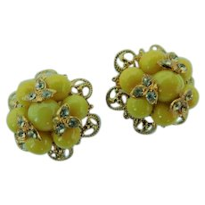 Make Offer on 1950s Lemon Supreme Yellow & Ice Crystal Rhinestone Filigree Vintage Non-Pierced Screw Back Beaded 1inch Earrings Domed Clusters