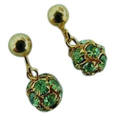 Make Offer On Vintage Peridot Green Crystal Rhinestone Dangle Drop Balls Possibly Gold Plated Screw Backs Earrings 1960s