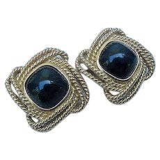 Vintage SIgned Trifari Chunky Black Plastic & Gold Braid 1.50inches Clip On Earrings