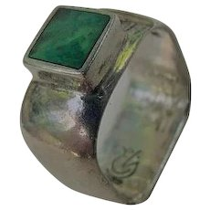 Vintage Mexican Jade Aventurine Sterling Silver Designer Square Shaped Band Sterling Silver 925 Unisex
