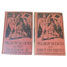1914 The Boy Scouts In The Saddle & 1915 As Forest Fire Fighters Antique Books by Scout Master Robert Shaler Boys Adventure