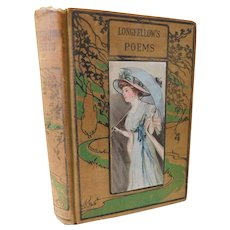 Victorian Henry Wadsworth Longfellow's Poems Poetry Lovely Lady Lithograph Cover Fine Binding