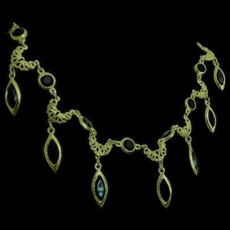 Black Bezel Set Faceted Crystal Class Necklace Choker Adjustable Possibly Gold Plated Swarovski Crystals