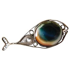 Antique Victorian Operculum Shell Sterling Silver Whale Fish Brooch Pin Filigree Wire work