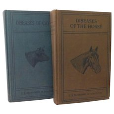 1923 Diseases of the Horse & Cattle Set of Books Illustrated Special Report U.S. Department of Agriculture Examinations Medicines Treatment Poisons Veterinary Medical