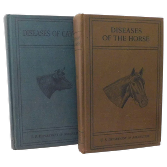 1923 Diseases of the Horses & Cattle Set of Books Illustrated Special Report U.S. Department of Agriculture Examinations Medicines Treatment Poisons Veterinary Medical