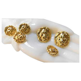 Vintage Set of 6 Majestic Lion Sewing Buttons Detailed Gleaming Gold Tone Metal in Repousse Set
