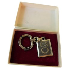 Vintage U.S. Patriotic Key Chain Sterling Silver Possibly Military U.S.O. United Service Organization Patented F.I.A. Lyon Fob Charm in Original Box