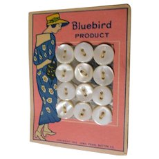 1922 Bluebird Buttons on Original Card Mother of Pearl Shell Flapper Lady Carded Iowa Pearl Button Co. MOP