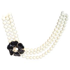 Designer Stella & Dot 3 Strand Pearl Necklace with Pave Crystal Ladybug on Black Enamel Flower