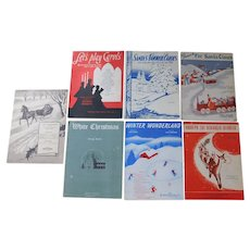 Collection of 7 Vintage Christmas Piano Sheet Music & Books 1931 - 1955 Classics Carols Rudolph White Christmas Yuletide