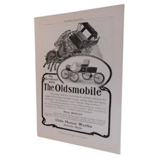 1903 Genuine Advertising for The Oldsmobile Olds Motor Works Antique Ad Horseless Carriage Automobile Car