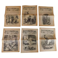 1861 Harper's Weekly Magazine Newspapers 11 Issues Civil War June through October Reprints from 1961 Highly Illustrated of Battles Maps Forts Generals Military Campaign