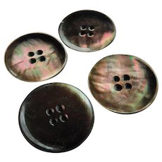 Set of 4 Old Luminous Mother Of Pearl Shell Sewing Buttons Large 1.45inches MOP Abalone