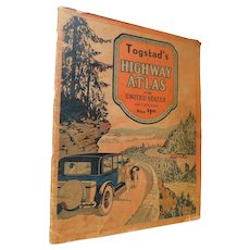 1931 Togstad's Gallup's Highway Atlas of the United States and Canada Art Deco Road and City Maps Book Each State Index To Towns Hotels Camps Points of Interest