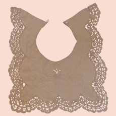 Antique Edwardian to Victorian Collar for Blouse Embroidered Ecru Crochet Lace Lady Cotton