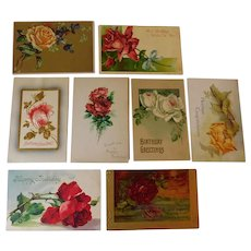 Antique Collection of VIctorian and Edwardian Roses in Postcards and Merit Card Embossed Greetings