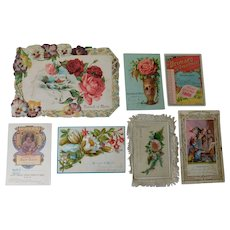 Collection of 7 Victorian Merit Award Cards From Teachers to Child Students Antique