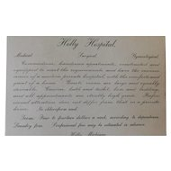 Victorian Holly Hospital Medical Surgical Gynecological Advertising Card Antique Rooms Available