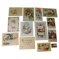 Victorian Collection of 13 Scripture Verse Bible Cards Illustrated Lithos Roses Flowers Embossed