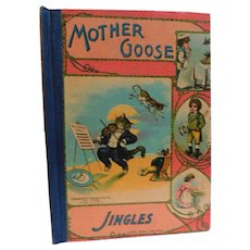 Victorian to Edwardian Mother Goose Jingles Nursery Children's Rhymes Vivid Cat & The Fiddle Cover  Illustrated Antique Book