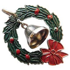 Vintage Sterling Silver Enamel Christmas Wreath with Moving Bell that Jingles Charm or Pendant