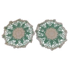 Matched Set of 2 Vintage Doilies Green White & Ivory with Embroidery & Hand Done Crochet Doily