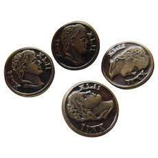 Old Buttons Set of 4 Matched Roman Heads XLII Intaglio Julius Caesar Vintage Sewing
