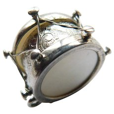 Vintage Drum Etched Design with Mother of Pearl Shell Inlays Sterling Silver Charm or Pendant 3D Detailed