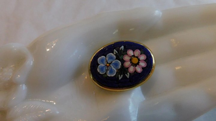 f2341e607 Vintage Italy Micro Mosaic Glass Tiles Brooch Pin Daisy & Forget Me Not on  Royal Blue
