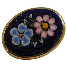 Vintage Italy Micro Mosaic Glass Tiles Brooch Pin Daisy & Forget Me Not on Royal Blue Background