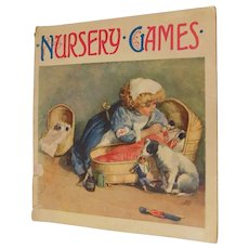 Victorian Nursery Games Childrens Story Book Girls Playing With Dolls Dollies Dollhouse Illustrated Lithographs Thomas Nelson & Sons Antique Book